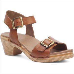 Dansko Matty Tan Leather Double Strap Sandal Clog